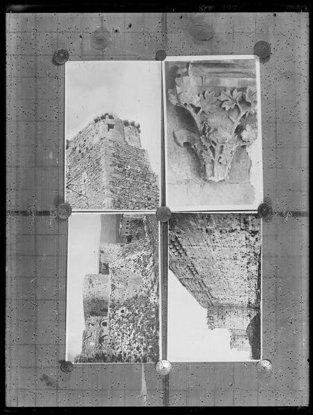 Reproduction de quatre photographies de détail du Crac (fronts sud et ouest, tourelle au sommet de l'angle sud-est, chapiteau à feuillage de la galerie), affichées sur une porte