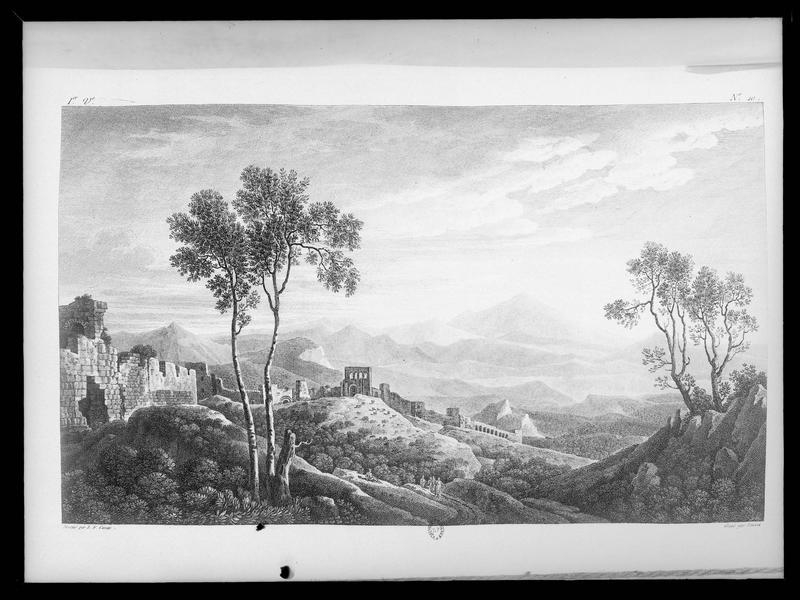 Reproduction d'une gravure montrant la ville d'Antioche, d'après un dessin de L.-F. Cassas