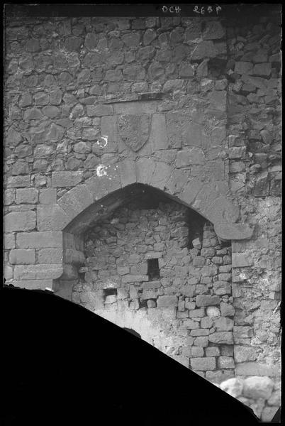 Entrée de la salle basse et de la tour sud-est de l'enceinte extérieure : fronton sculpté avec blason
