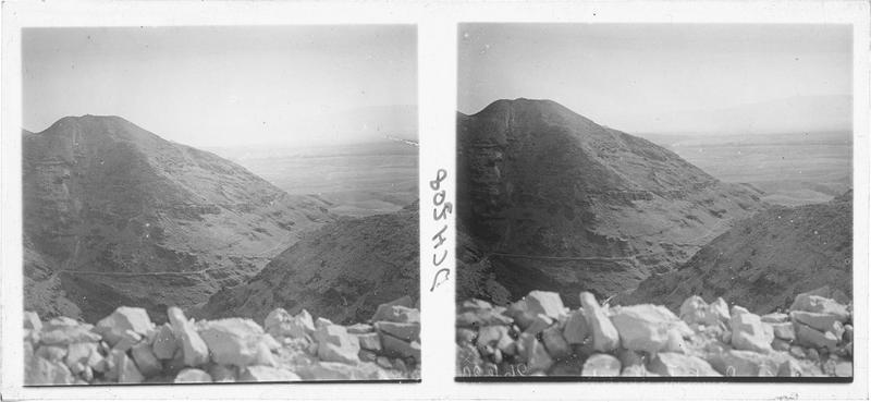 Vue vers la mer Morte en contrebas du château de Kerak