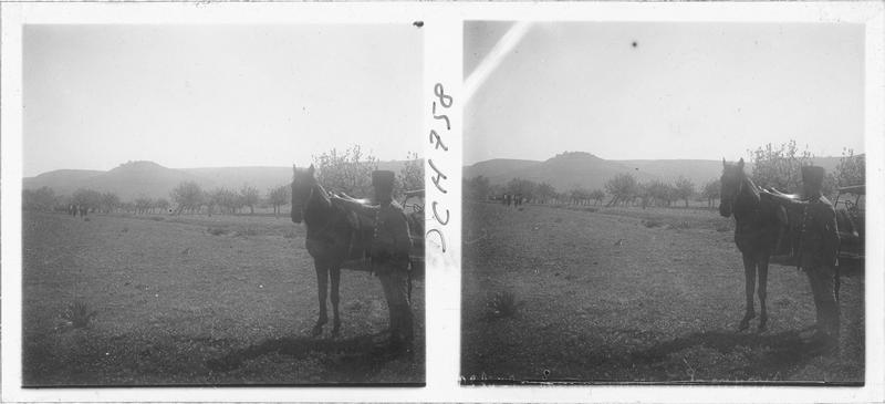 Personnage et cheval avec le château à l'arrière-plan