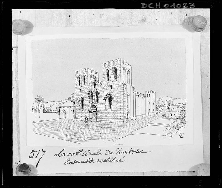 Reproduction d'un dessin de Camille Enlart montrant «La cathédrale de Tortose, ensemble restitué», s.d.