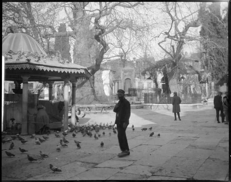 Kiosque entouré de pigeons, sur une placette