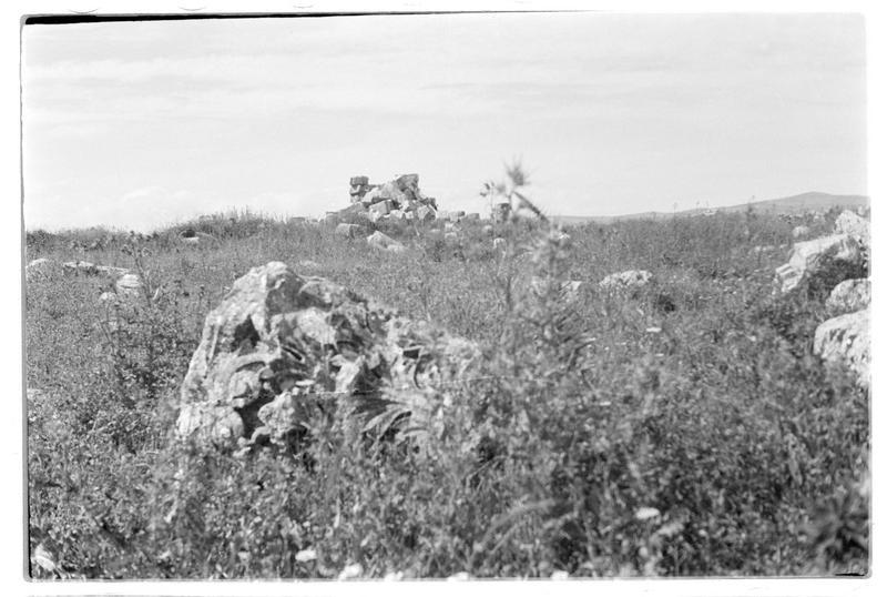 Chapiteau sur le sol du site antique