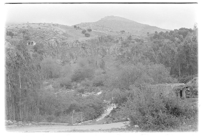 Vue du site de Banias, avec en arrière-plan le château de Subeibe