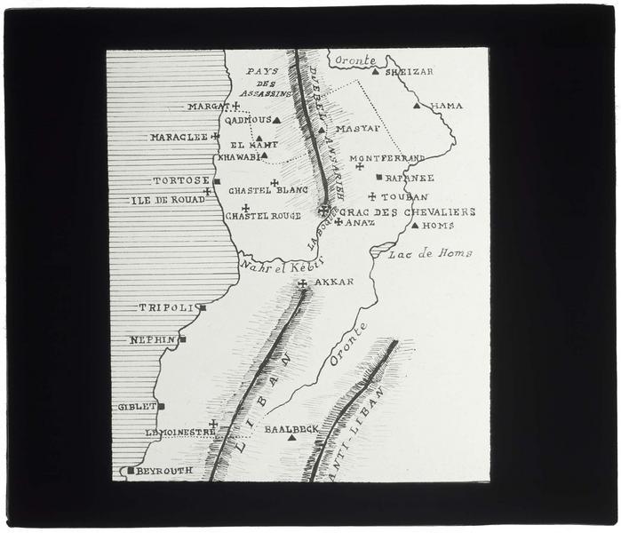 Reproduction d'une carte sommaire du comté de Tripoli