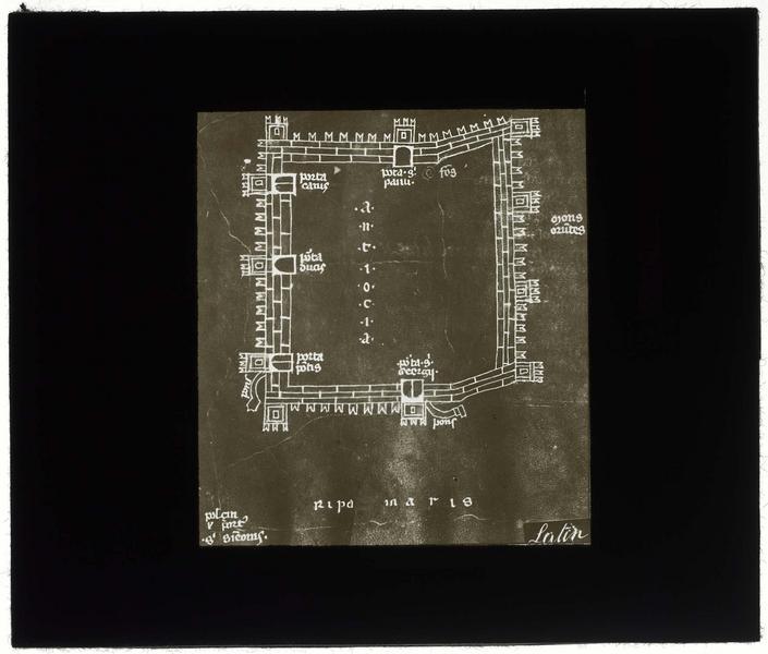 Reproduction d'un plan d'Antioche, d'après un manuscrit du 14e siècle (BNF, Lat. 4939, fol. 98v)