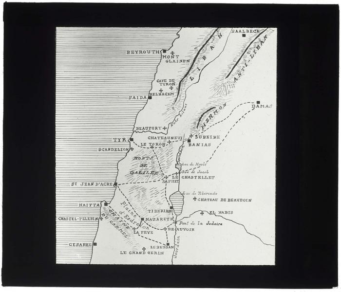 Carte de la Syrie, du Liban et de la Palestine au temps des Croisades, entre Beyrouth et Césarée