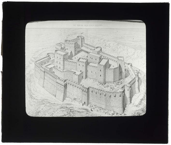 Reproductiond'une gravure de Guillaume Rey: vue d'ensemble de la forteresse dans son état supposé de 1142