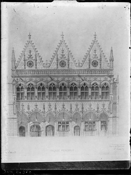 Elévation de la façade principale : corps central