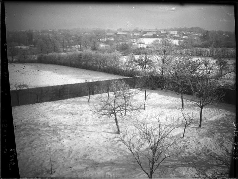 Paysage rural : murs de clôture, champs et rideaux d'arbres