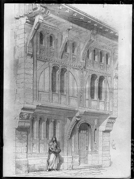 Gravure représentant la façade d'une maison démolie en 1834