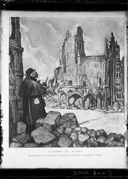 Gravure : « Monsieur Baedeker prépare la nouvelle édition de son guide en France »
