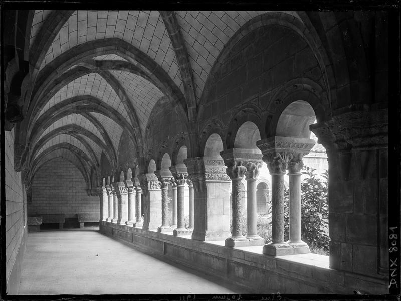 Cloître, intérieur d'une galerie : voûtes et colonnettes