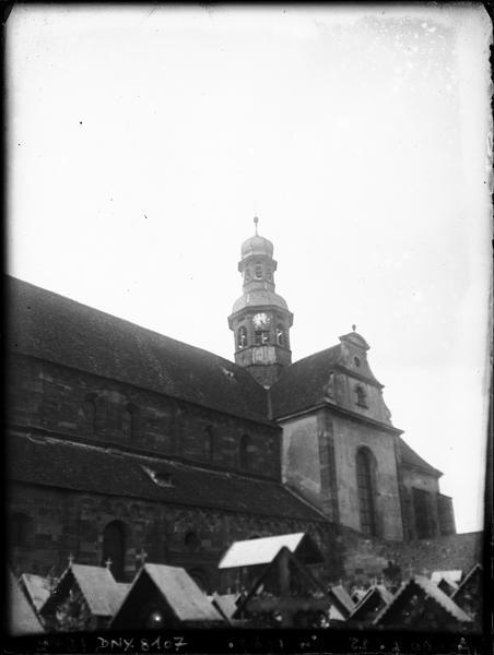 Façade sud : pignon du transept et clocher