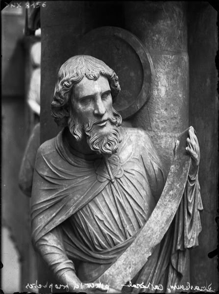 Intérieur, pilier du Jugement dernier ou pilier des Anges : saint Matthieu, vue partielle