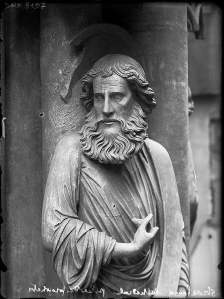Intérieur, pilier du Jugement dernier ou pilier des Anges : saint Luc, vue partielle