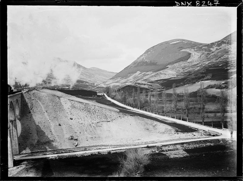 Paysage de montagne : route bordée de peupliers