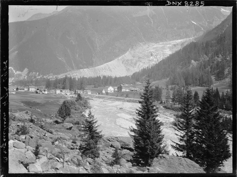 Paysage de montagne : le village d'Argentière, rochers et conifères au premier plan