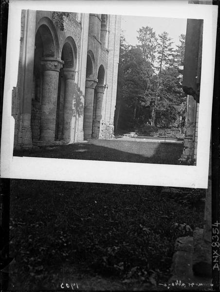 Ruines de l'église abbatiale, intérieur : détails de la nef vers l'est