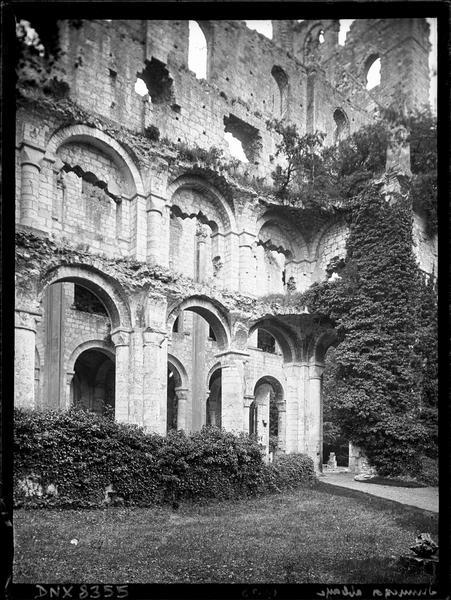 Ruines de l'église abbatiale, intérieur : arcades et tribunes côté sud