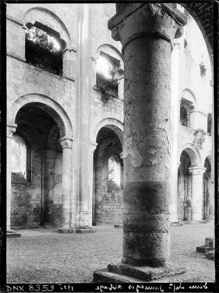 Ruines de l'église abbatiale, intérieur : pilier et vue transversale de la nef