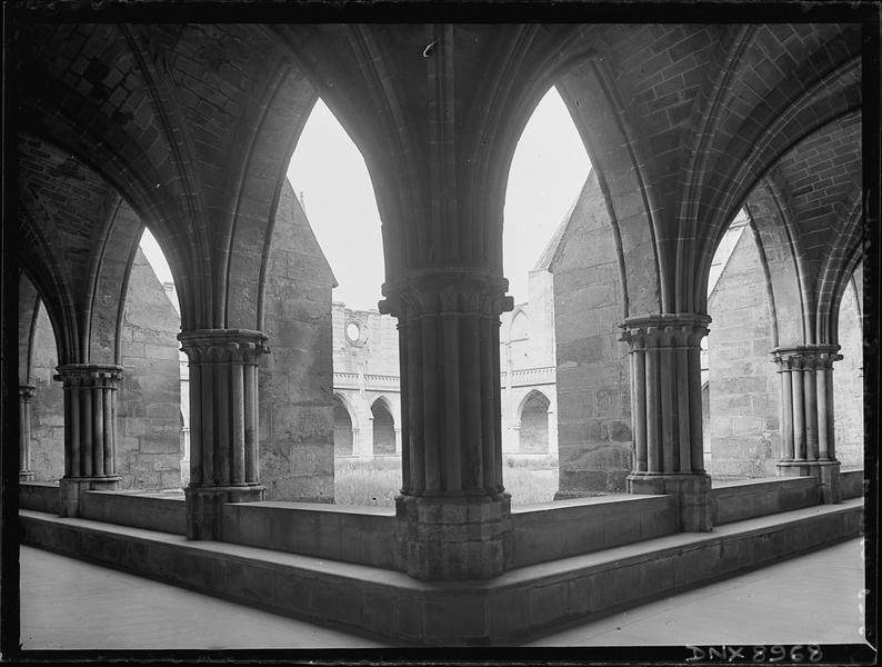 Cloître : angle de deux galeries, piliers et voûtes