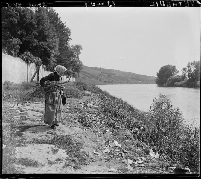 Paysanne au fagot, sur un talus dominant la Seine
