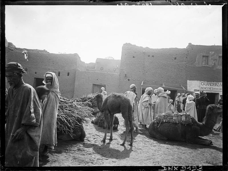 Le marché arabe : chameaux et personnages devant l'entrée du grand Bazar