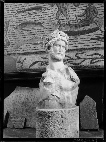 Buste d'homme lauré, mosaïque aux poissons et stèles épigraphiques