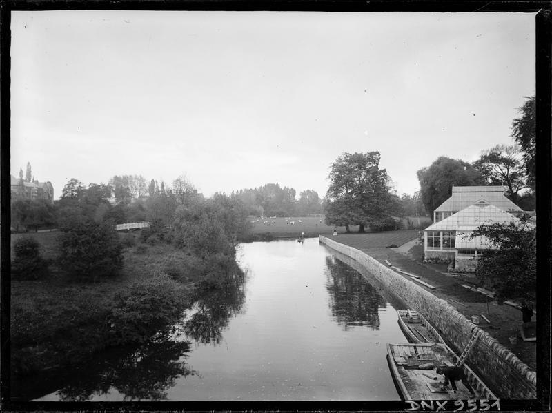 Serres au bord d'une rivière traversant un parc