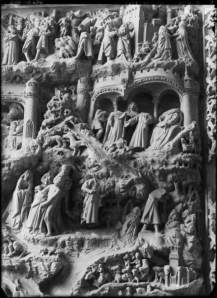 Intérieur, chapelle rayonnante : retable de la vie de saint Jean-Baptiste, détail
