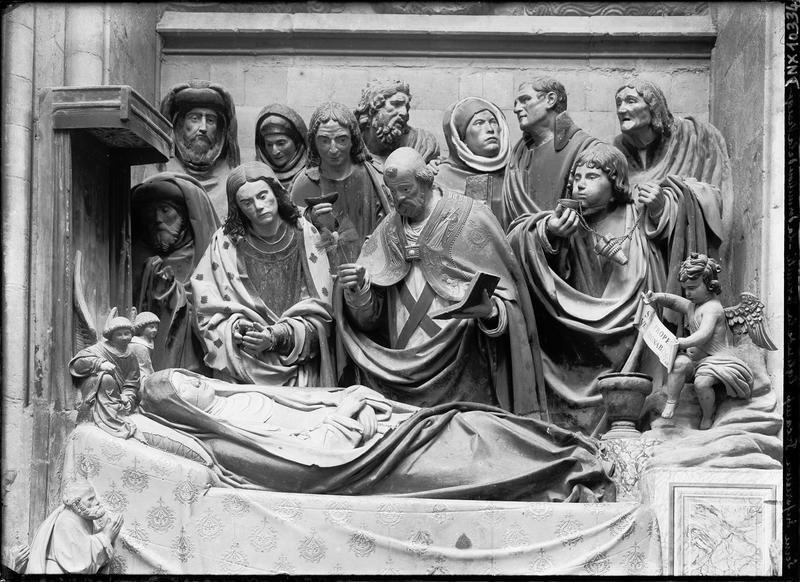 Groupe sculpté : la dormition de la Vierge, vue d'ensemble
