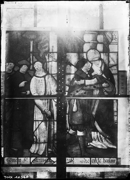 Vitrail du choeur : saint Martin guérit un lépreux