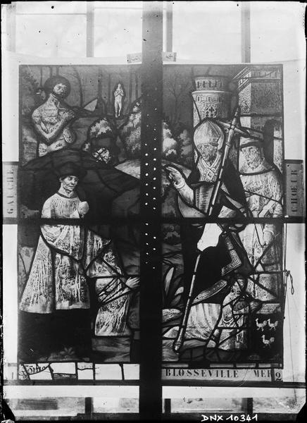 Vitrail du choeur : personnages agenouillés devant un évêque bénissant