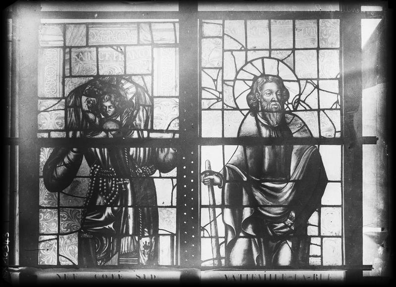 Vitrail de la nef côté sud, détail d'une verrière : deux saints dont saint François