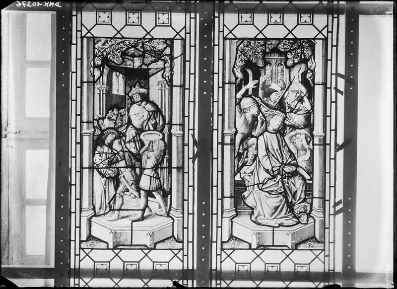 Vitrail, scènes de la Passion : Ponce-Pilate se lavant les mains et le Christ aux outrages
