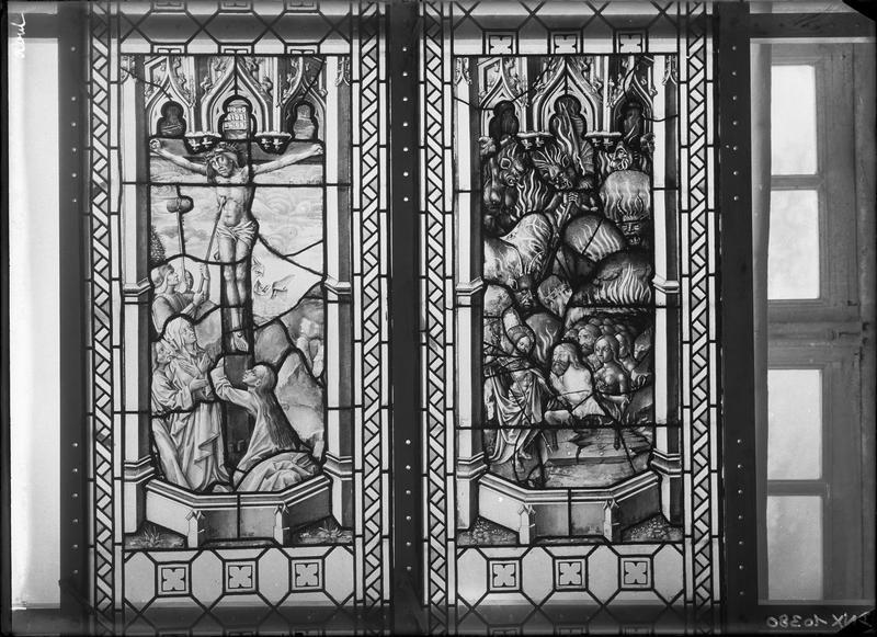 Vitrail, scènes de la Passion : Marie-Madeleine au pied de la Croix et la Descente aux limbes