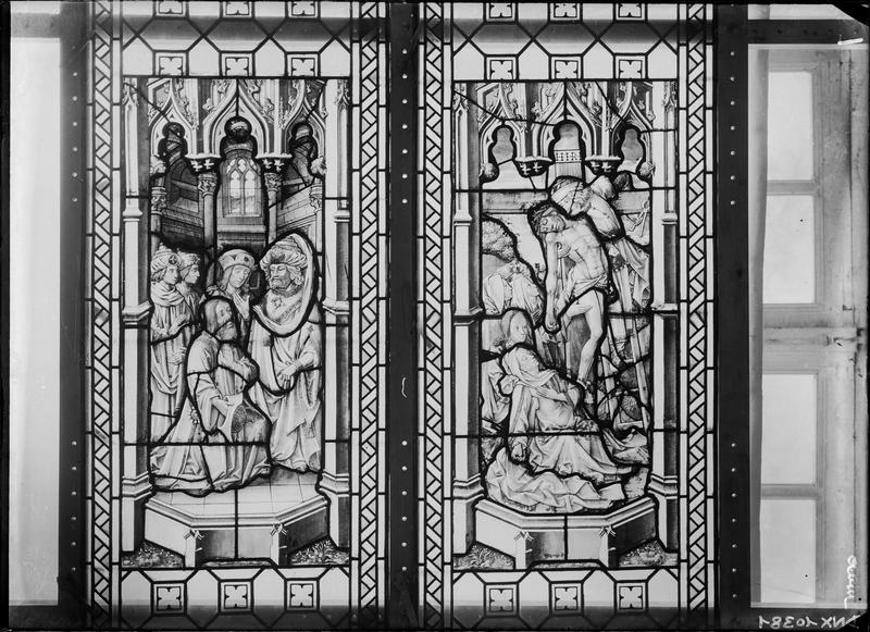 Vitrail, scènes de la Passion : Descente de Croix