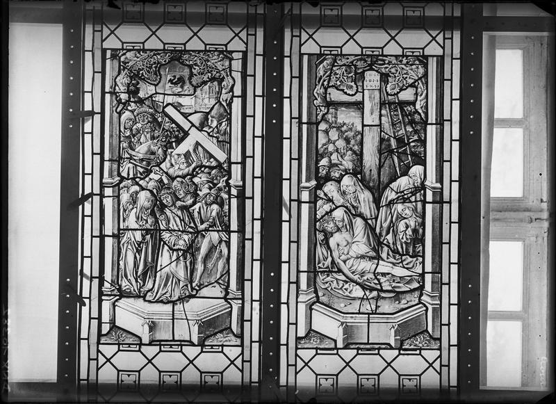 Vitrail, scènes de la Passion : Déploration sur le Christ mort