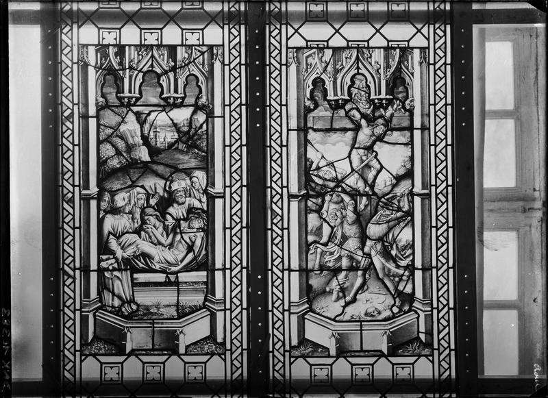 Vitrail, scènes de la Passion : Mise au Tombeau et le Mauvais Larron