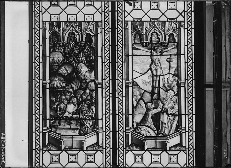 Vitrail, scènes de la Passion : Le Christ en Croix transpercé d'une lance et la Descente aux limbes