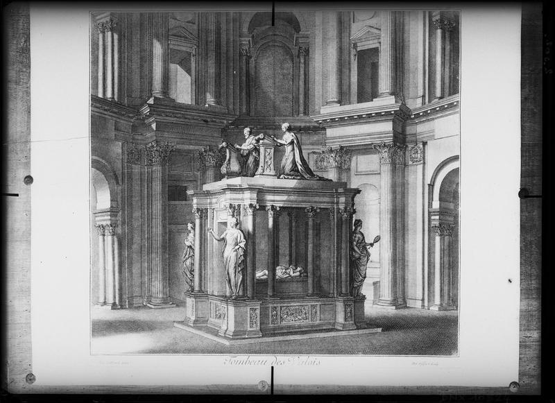 Reproduction d'une gravure du 18e siècle : tombeau d'Henri II et de Catherine de Médicis dans la chapelle des Valois