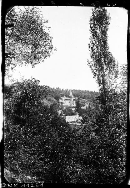 Vue d'ensemble à distance, arbres au premier plan