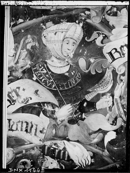 Relevé de la fresque du choeur : L'Arbre de Jessé, détail