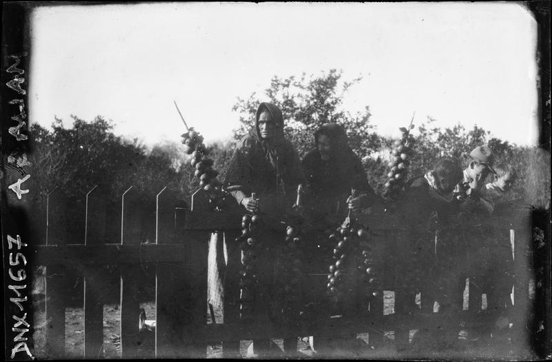 Femmes derrière une barrière en bois, tenant des tresses de fruits