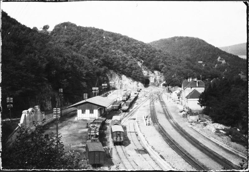Wagons de marchandises, voie ferrée et petite gare : vue plongeante