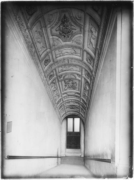 Escalier : voûte sculptée de caissons ornés de divers motifs