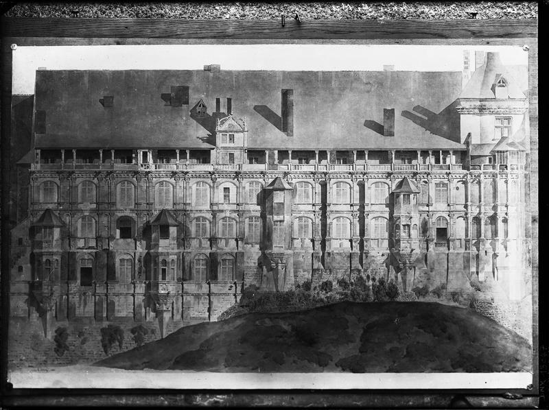 Dessin : façade extérieure de l'aile François 1er