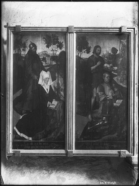 Retable de la Passion, côté gauche : volets peints représentant les donateurs
